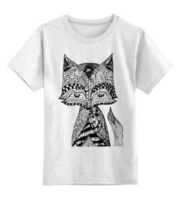"""Детская футболка классическая унисекс """"Animals """" - животные, графика, иллюстрация, лиса, стилизованнаялиса"""
