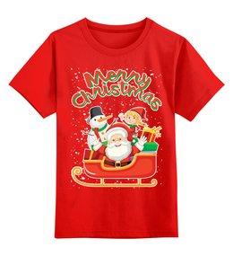 """Детская футболка классическая унисекс """"Merry Christmas"""" - новый год, рождество, дед мороз, санта клаус, снеговик"""