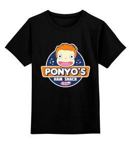 "Детская футболка классическая унисекс ""Рыбка Поньо на утёсе"" - ponyo on the cliff by the sea"