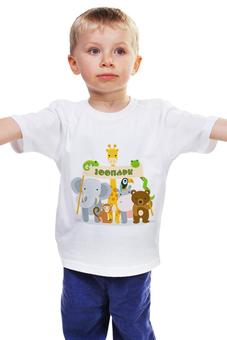 """Детская футболка """"Зоопарк"""" - животные, слон, жираф, обезьяна, зоопарк"""