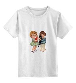 """Детская футболка классическая унисекс """"Две девочки и кот."""" - кот, игра, ретро, рисунок, дети"""