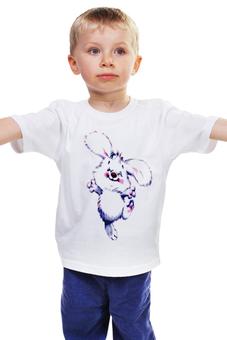 """Детская футболка """"зайка веселый пушистый .улыбка."""" - радость, мульт, пушистик, зайяц"""