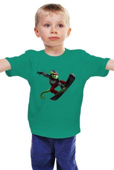 "Детская футболка ""Ящерица - сноубордист"" - спорт"