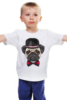 """Детская футболка классическая унисекс """"Мопс, собака"""" - бабочка, dog, pug, пес, шляпа, мопс"""