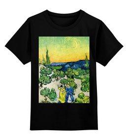 """Детская футболка классическая унисекс """"Пейзаж с прогуливающейся парой и полумесяцем"""" - картина, ван гог"""