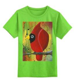 """Детская футболка классическая унисекс """"Птица на ветке"""" - птица на ветке, майка с красной птицей, майка с авторским принтом, птица кардинал, детская майка"""