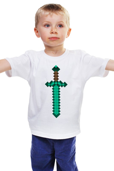 """Детская футболка """"Майнкрафт"""" - minecraft, меч, пиксели, sword"""