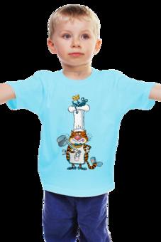 """Детская футболка """"Повар кот"""" - кот, арт, дети, в подарок, оригинально, мышка, детское, футболка детская, дядя коля воронцов, микола"""