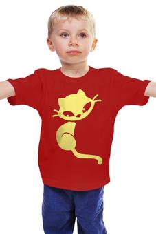"""Детская футболка классическая унисекс """"Кошечка"""" - кот, кошка, желтый, кошечка, сидит"""