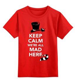 """Детская футболка классическая унисекс """"Алиса в Стране чудес"""" - алиса в стране чудес, чеширский кот"""