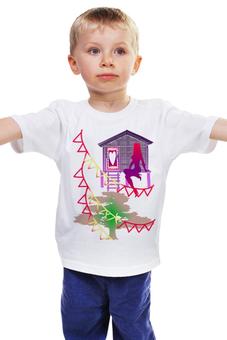 """Детская футболка классическая унисекс """"Романтичная веранда."""" - девушка, романтика, принцесса, гирлянда, веранда"""
