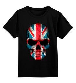 """Детская футболка классическая унисекс """"SkullEngl"""" - череп, сыну, великобритания, британский флаг"""