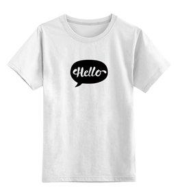 """Детская футболка классическая унисекс """"Облако мыслей - Hello"""" - мысли, облако, print, hello, облакомыслей"""