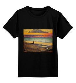 """Детская футболка классическая унисекс """"Пляж в Хейсте (Жорж Леммен)"""" - картина, пейзаж, живопись, жорж леммен, неоимпрессионизм"""