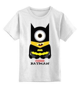 """Детская футболка классическая унисекс """"Minion Batman                        """" - comics, стиль, batman, супергерои, dc, миньоны, superhero, бетмен, minion, смешные"""