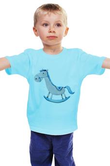 """Детская футболка классическая унисекс """"Лошадка"""" - животные, лошадь, рисунок, игрушка, качели"""