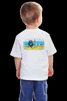 "Детская футболка ""Алый парус/ red sail"" - кот, смешное, майки, футболка, животные, kitty, котенок, ретро, море, отдых"