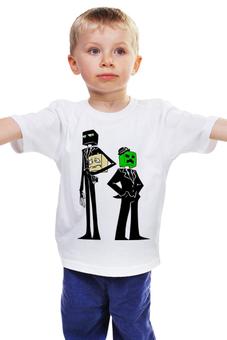 """Детская футболка классическая унисекс """"Крипер и Эндермен. Майнкрафт"""" - игры, minecraft, майнкрафт, геймерские, крипер и эндермен"""