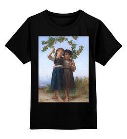 """Детская футболка классическая унисекс """"Вишневая ветвь (картина Вильяма Бугро)"""" - дружба, картина, академизм, живопись, бугро"""