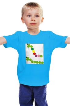 """Детская футболка классическая унисекс """"две гусенички"""" - мультяшные картинки, гусеницы, с рисунком для детей"""