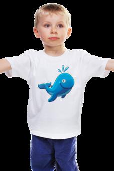 """Детская футболка """"Большой морской кит с фонтаном """" - кит, рыбка, футболка для мальчика, футболка для девочки"""