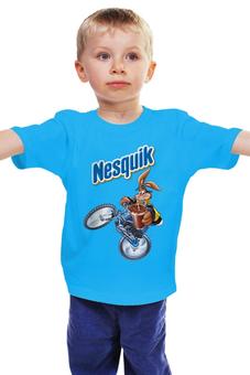 """Детская футболка """"Несквик """" - кролик, заяц на велосипеде"""