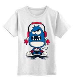 """Детская футболка классическая унисекс """"Монстрик"""" - монстр, кеды"""
