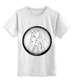 """Детская футболка классическая унисекс """"Ежик на луне и лошадка в тумане"""" - звезды, небо, луна, ежик на луне, лошадка в тумане"""