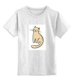 """Детская футболка классическая унисекс """"котик"""" - кот, авторские майки, рисунок, графика"""