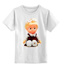 """Детская футболка классическая унисекс """"кукла-ДЕВОЧКА МАША ИЗ МУЛЬТА. СМЕШНАЯ ОЗОРНАЯ. """" - кукла, девочка, мульт, маша"""