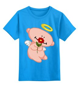 """Детская футболка классическая унисекс """"Ангел с цветком"""" - ангел, цветок, любовь, крылья, нимб"""