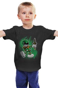 """Детская футболка классическая унисекс """"Зелёный Рейнджер"""" - самурай, могучие рейнджеры, токусацу, зелёный рейнджер"""