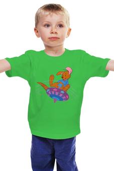"""Детская футболка классическая унисекс """"Мишка на волчке"""" - медвежонок, юла"""