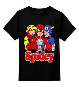 """Детская футболка классическая унисекс """"Spidey"""" - человек паук, железный человек, капитан америка"""