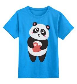 """Детская футболка классическая унисекс """"Панда с сердечком"""" - сердце, любовь, панда"""