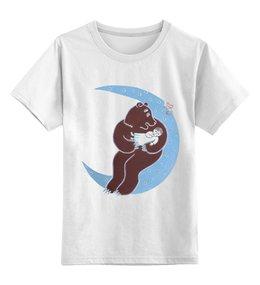 """Детская футболка классическая унисекс """"Мишка на луне"""" - авторские майки, рисунок"""
