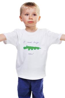 """Детская футболка классическая унисекс """"крокодил"""" - авторские майки, животные, рисунок, крокодил, зеленый"""