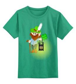 """Детская футболка классическая унисекс """"Лепрекон с фонарем и волшебный клевер"""" - клевер, фонарь, день святого патрика, карлик, четырехлистник"""