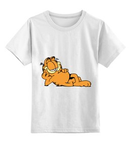 """Детская футболка классическая унисекс """"Гарфилд"""" - кот, cat, гарфилд, рыжий кот, garfield"""