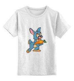 """Детская футболка классическая унисекс """"Зайка"""" - мультяшки, рисунок, зайка, морковка"""