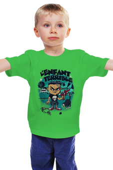 """Детская футболка классическая унисекс """"L'enfant terrible """" - череп, пистолет"""