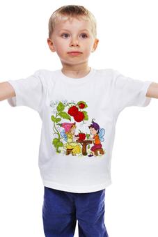 """Детская футболка классическая унисекс """"Маленький народец"""" - фея, малина, завтрак, беседа"""
