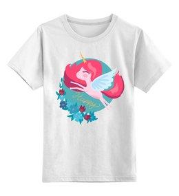 """Детская футболка классическая унисекс """"Милый мультяшный очаровательный единорог (1)"""" - лошадь, красивый, сказка, иллюстрация, мульт"""