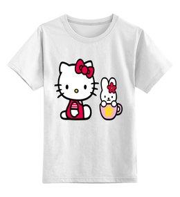 """Детская футболка классическая унисекс """"КОШКА КИТИ.ИГРУШКА. МУЛЬТ. KITTY."""" - кошка, заяц, кити, муль"""