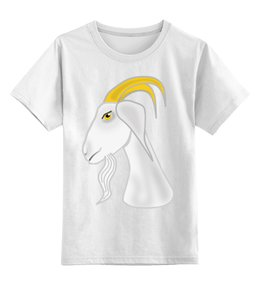 """Детская футболка классическая унисекс """"Голова белого козла"""" - голова, злость, изумление, белый козел, удивленный козел"""