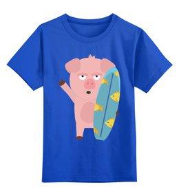 """Детская футболка классическая унисекс """"Поросёнок-сёрфер"""" - сёрфинг, сёрф, сёрфер, поросёнок, свин"""