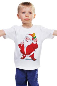 """Детская футболка классическая унисекс """"Санта Клаус"""" - дед мороз, санта клаус, santa claus, дед в красном, дед с подарками"""