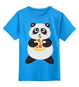 """Детская футболка классическая унисекс """"Панда обжора"""" - животные, панда, пицца, милые животные, панда обжора"""