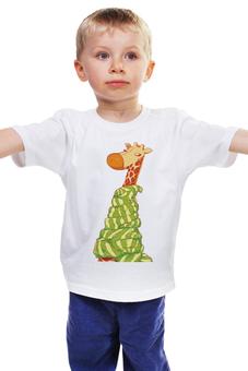 """Детская футболка классическая унисекс """"Жираф Боря"""" - животные, мультфильм, жираф, стильный, детский рисунок"""