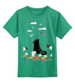 """Детская футболка классическая унисекс """"Лето  """" - бабочки, котик, ромашки"""